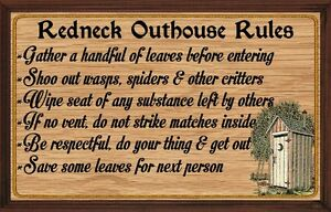 Redneck Outhouse Rules Wall Decor Rustic Primitive