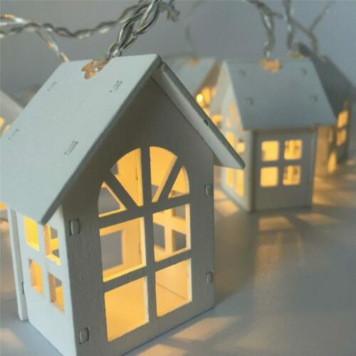 LED Christmas Lights of 10 Mini House Indoor String Decoration Garland for Xmas