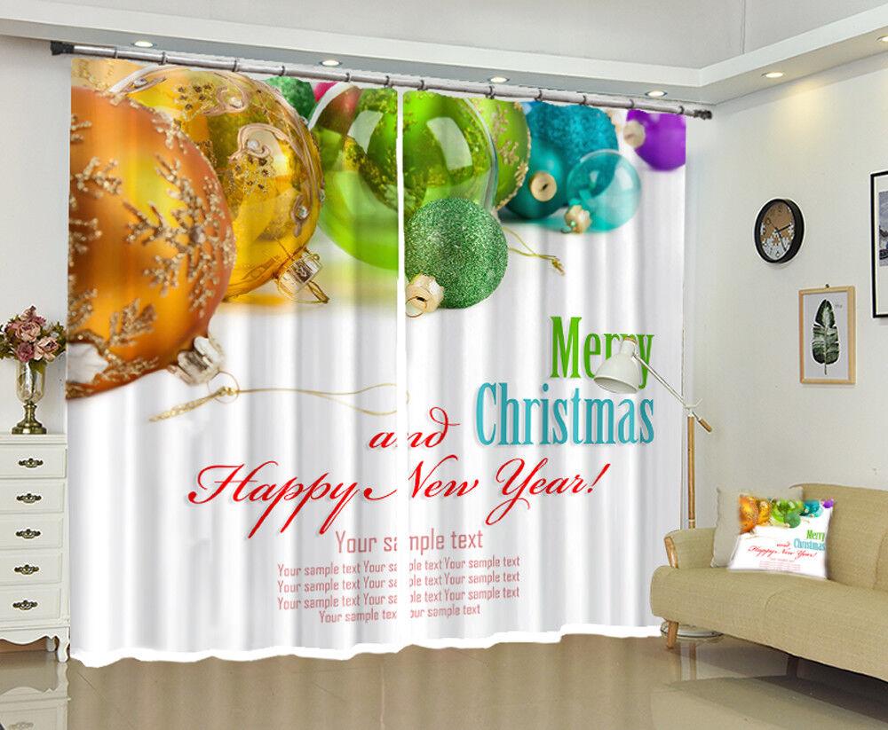 3D navidad navidad Cortina de foto 1222 Blockout Impresión Cortinas Ventana De Tela Reino Unido