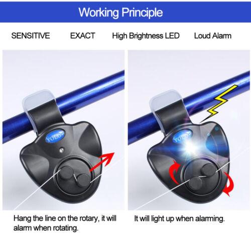Fish Bite Alarm Alert Bells LED Light Bait Sound Warning Sea Fishing Rod Clamp