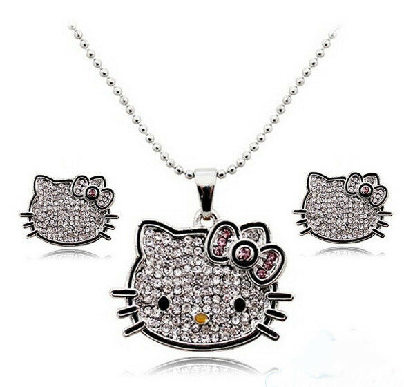 Platinum Plated Hello Kitty Crystal Jewelry Sets With Necklaces and Earrings