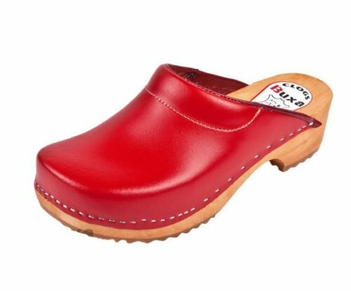 Women Wooden clogs Red color F3    Leather or Suede
