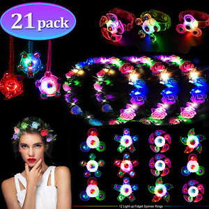 21Pcs-LED-Party-Favor-Spin-Relief-Anxiety-Toy-Glow-Flashing-Flower-Headpiece-Dec