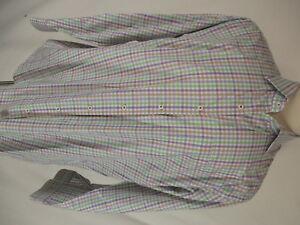 Peter Millar Mens Green Purple Plaid Long Sleeve Cotton Shirt XL