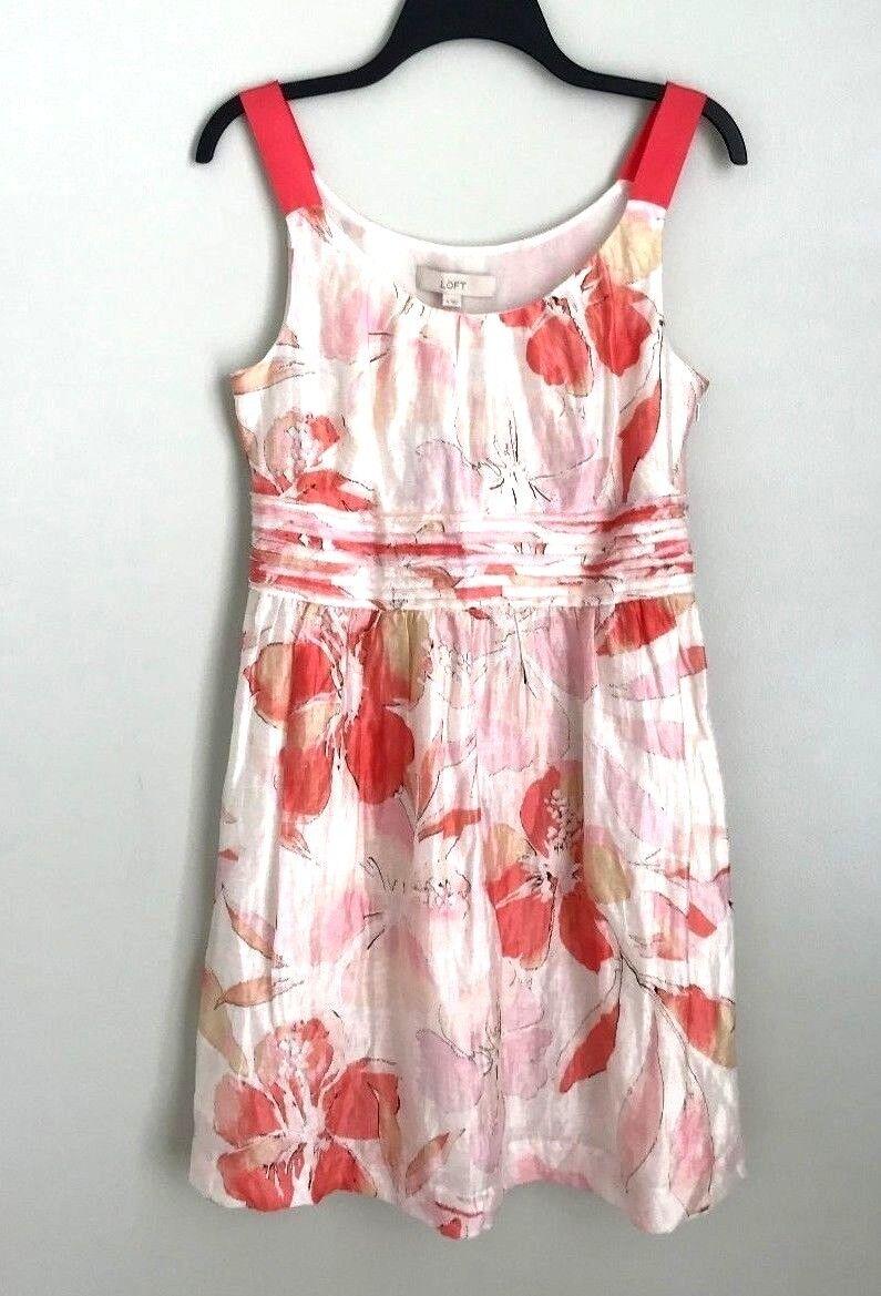 New Ann Taylor LOFT 4 Sleeveless Linen Blend Floral Dress Sundress Ivory Pink