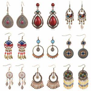 Women Retro Boho Turquoise Tassel Dangle Hook Earrings Gypsy Bohemian Jewelry
