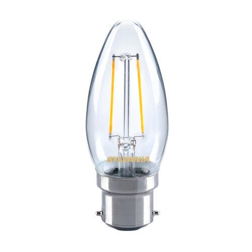 SYLVANIA 2.5 W del traditionnel Bougie Ampoule B22 BC blanc chaud 2700K