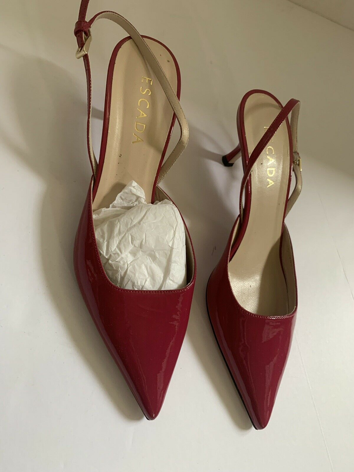 Escada Pump Patent Leather Mauve Point Toe shoes Kitten Heel Size 39 US 9