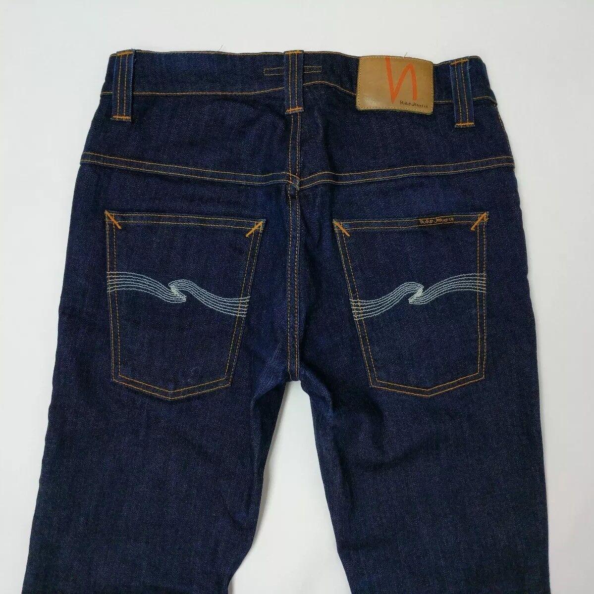 Nudie Jeans da uomo Thin Finn Skinny Fit Stretch Cotone Biologico W30 L31 RRP