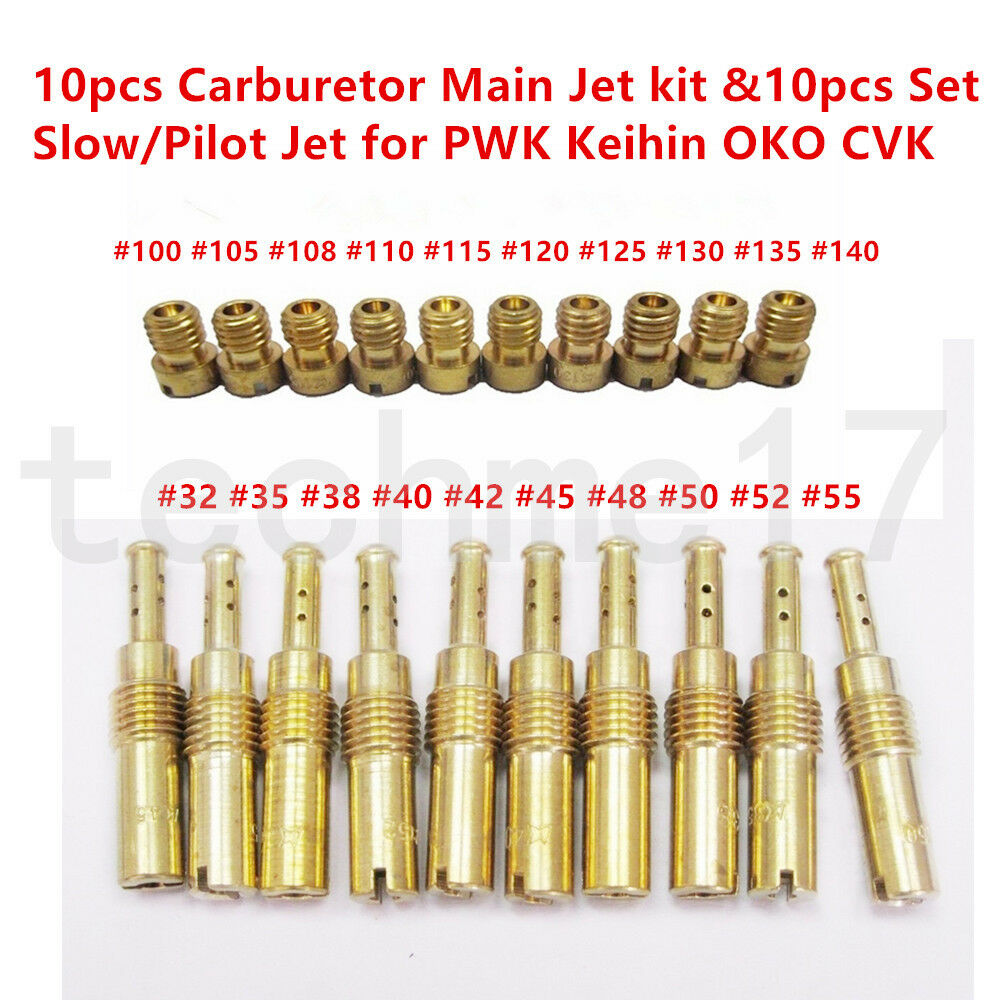 10pcs Carburetor Main Jet kit                 &10pcs Set Slow/Pilot Jet for PWK Keihin OKO CVK                 100-140 Main Jet, 32-55 idle jet,