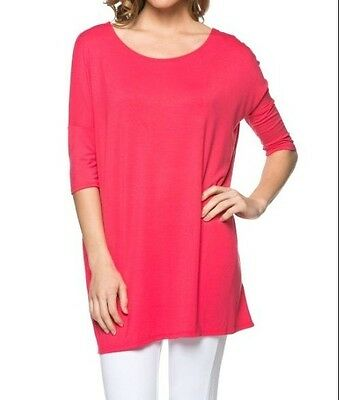 USA Women Boatneck Piko Style T-Shirt Loose Half Sleeve Long Tunic Top PLUS SML