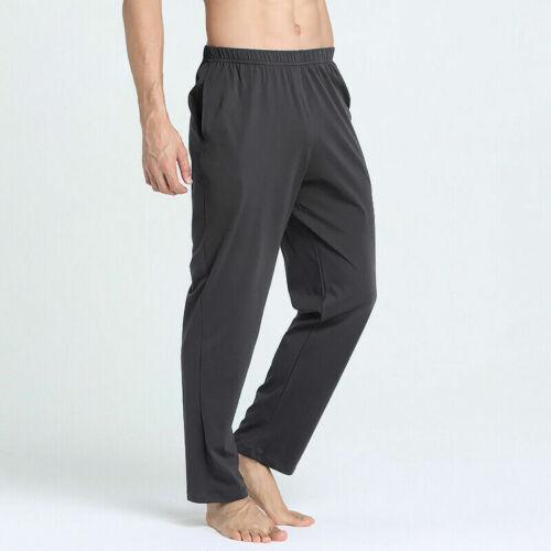 Uomo Misto Cotone Pantaloni Lunghi Elastico Vita da Casa Biancheria Notte Casual