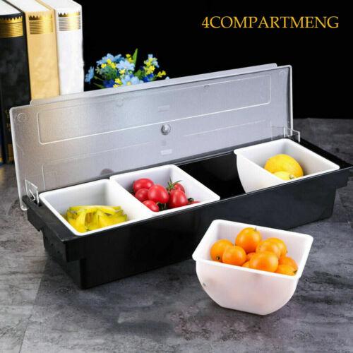 Cocktail Plastic Condiment Dispenser 6 Compartment BlackBar Condiment Holder