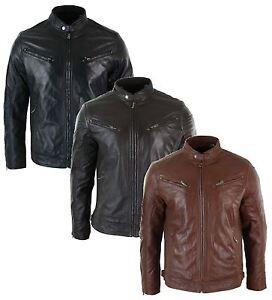veste cuir v ritable homme coupe ajust e fermeture zip biker r tro d contract ebay. Black Bedroom Furniture Sets. Home Design Ideas