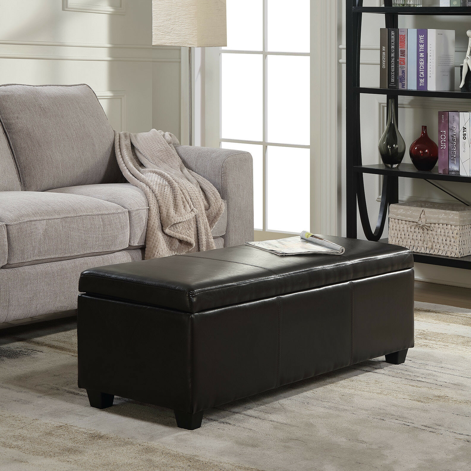 Espresso Faux Leather Storage Ottoman Large Bench Foot Rest Seat Room Decor 48 For Sale Online Ebay
