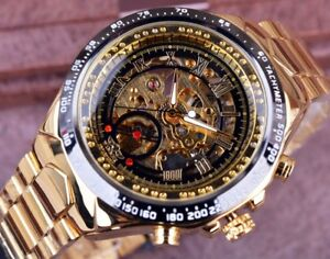 Men-039-s-Winner-Automatic-Vintage-Skeleton-Mechanical-Wrist-Watch-Golden-Stainless