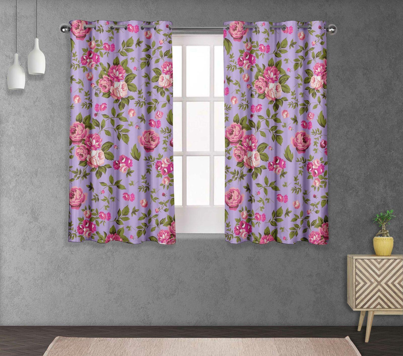 S4sassy Leaves & Begonia Bed Room Divider short & long Curtain Panel -FL-1O