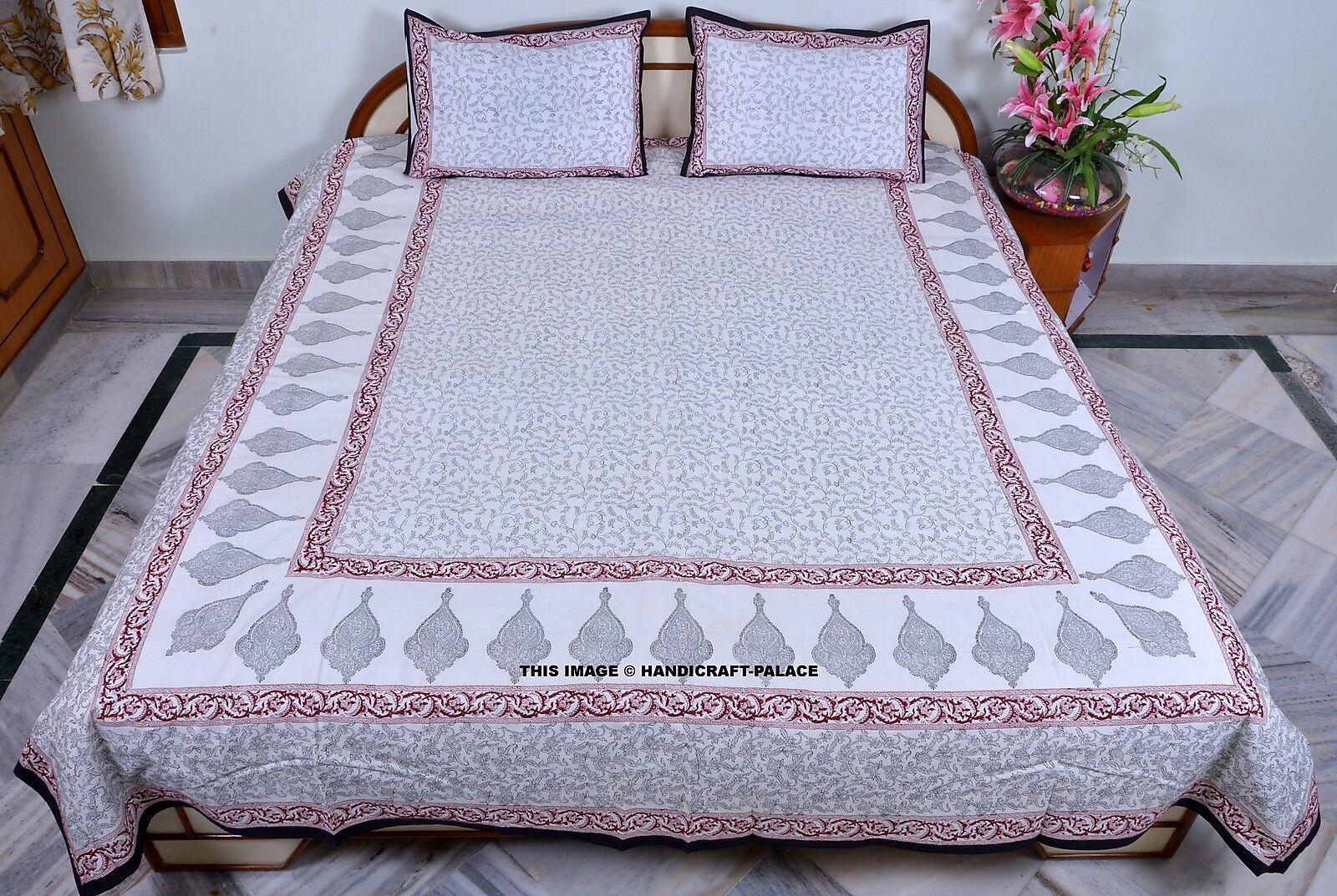 Ethnic Cotton Paisley Drucken Weiß Bett Startseite Bettspread Königin Größe Bett sheet Set