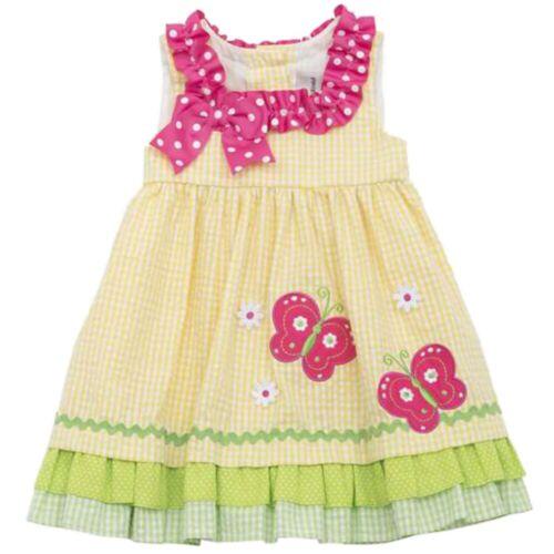 Rare Editions Kinder Baby Mädchen Sommer Kleid gelb Seersucker Girl Dress 80