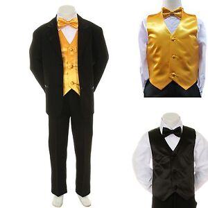 boy kid formal wedding party black suit tuxedo yellow