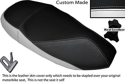 WHITE /& BLACK CUSTOM FITS PEUGEOT ELYSEO 50 100 125 DUAL LEATHER SEAT COVER ONLY