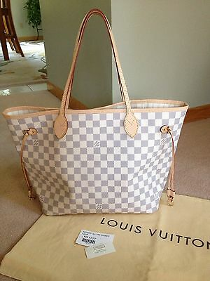 NEW WITH TAGS! Louis Vuitton Neverfull MM Damier Azur N51107 Dust Bag Included!