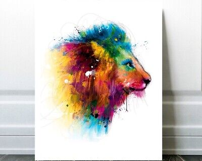 Canvas picture he XXL Pop Art Lion Lions Head Colourful Graffiti Abstract 130x130