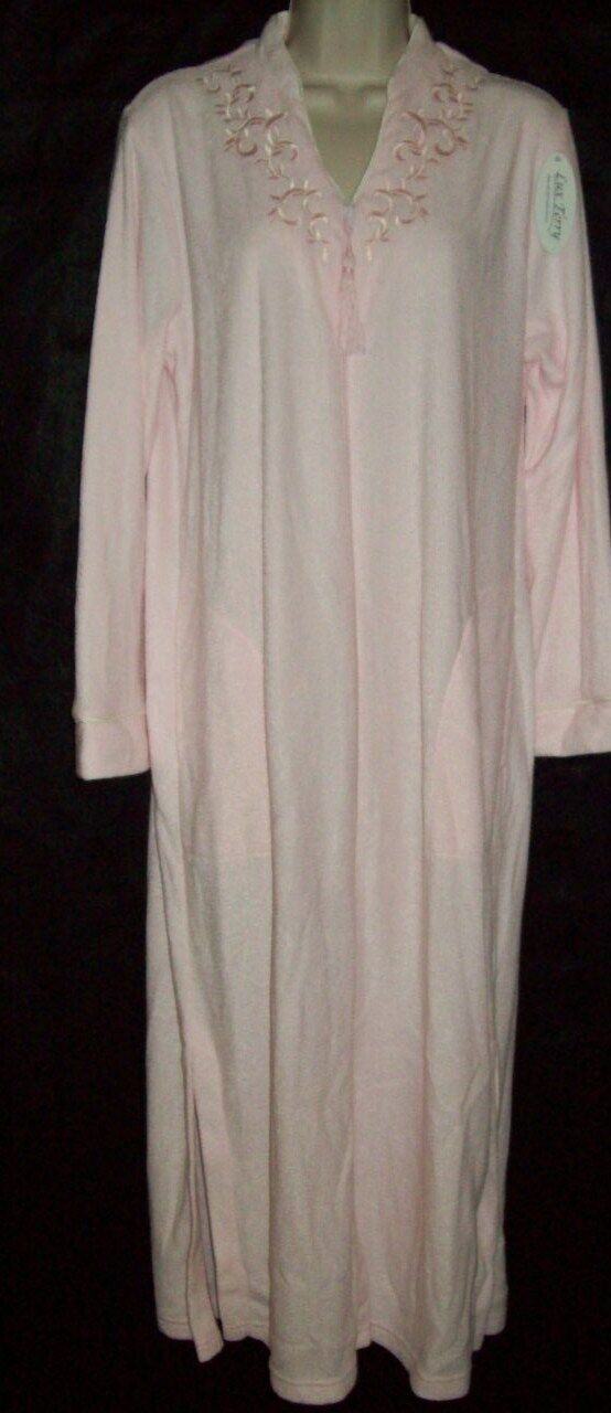 NWT MISS ELAINE LUX TERRY BRUSHED INSIDE ZIP FRONT LONG ROBE PINK 861030 664 S
