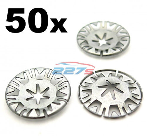 VW Underbody Heat Shield Fasteners 50x Volkswagen Metal Locking Star Washers