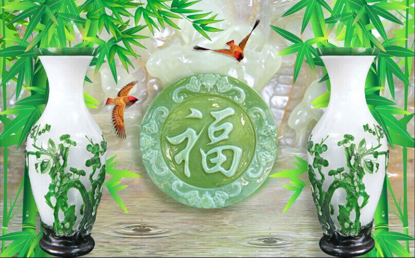3D  Zwei Vasen, Bambus 779 Fototapeten Wandbild Fototapete BildTapete Familie DE