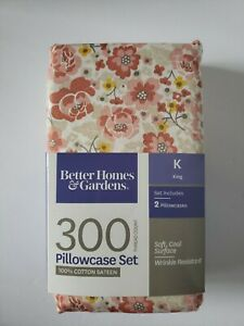Better Homes /& Gardens Wrinkle Free King Pillowcase Set 100/% Cotton NEW Silver