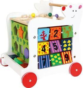 Holzspielzeug Spielzeug Hell Lauflernwagen Bär Steckspiele Motorikschleife Holz 37 X 36 X 41 Cm Neu