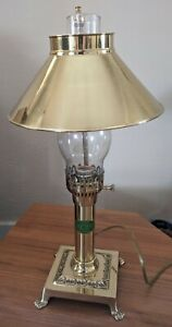 Vintage Paris Istanbul Orient Express Brass Table Lamp Desk Train Claw Feet