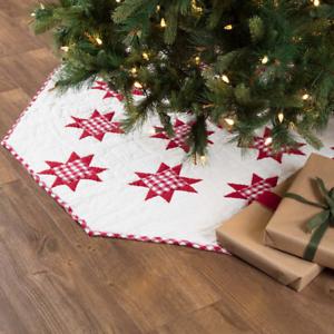 "New Farmhouse REVERSIBLE RED CHECK QUILT STAR Gingham Christmas Tree Skirt 60/"""
