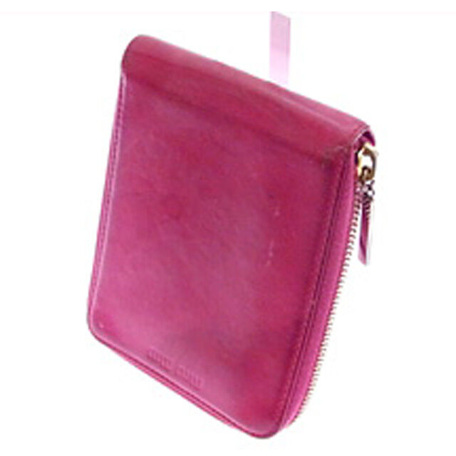 miumiu Wallet Purse zipper wallet Logo Red Woman Authentic Used R424