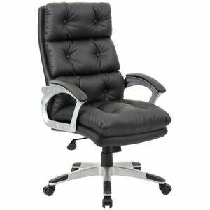Astounding Details About Boss Office Leather Tufted Swivel Executive Office Chair In Black Ocoug Best Dining Table And Chair Ideas Images Ocougorg