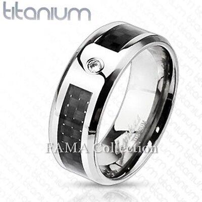 FAMA 8mm Solid TITANIUM  Black Carbon Fiber Inlay Band Ring Size 9-13