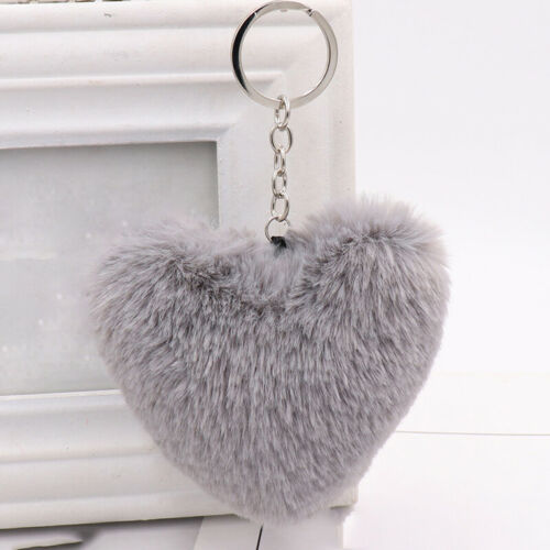 Women Cute Fluffy Heart Key Holder Alloy Keychain Girls Bag Pendant Hanging Ring