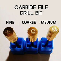 3 Size Electric Cylinder Carbide File Drill Bit Nail Art Manicure Pedicure Tool