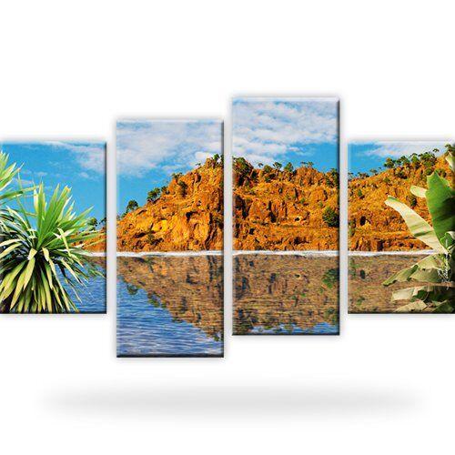 Berg Palmen Ozean Wandbilder auf Leinwand Digitalart Vierteilig