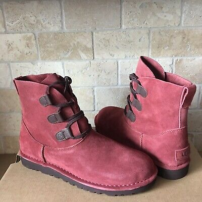 6090644450a UGG Elvi Unlined Red Clay Suede Lace-up Ankle Boots Shoes Size 10 Womens