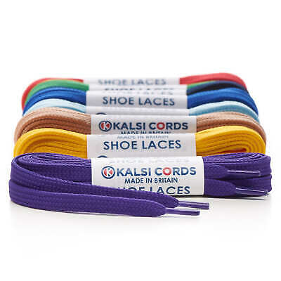7mm FLAT WAXED COTTON SHOE LACES PREMIUM QUALITY FOR TRAINER BOOT SNEAKER SPORT
