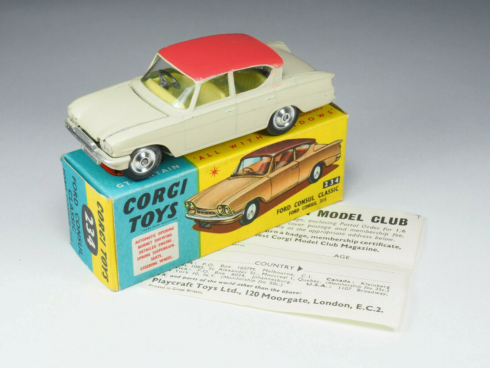 Corgi giocattoli  234  Ford Consul classeic  143e  Engle