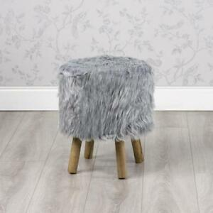 Cool Details About Grey Faux Sheepskin Mongolian Fur Round Foot Stool Gb224 Pabps2019 Chair Design Images Pabps2019Com