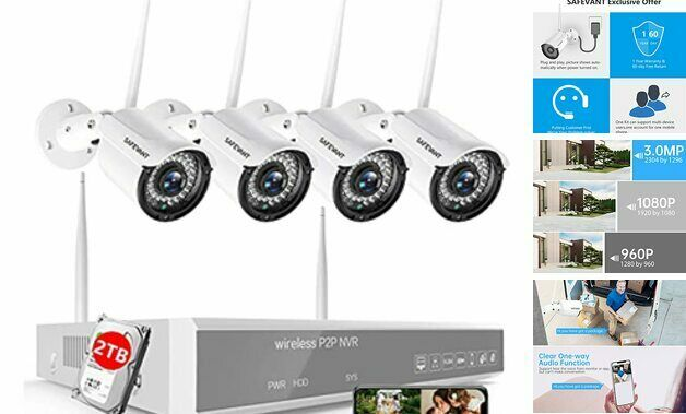 [3MP 2TB Hard Drive] Wireless Security Camera System with Audio, 8 4PCS 2TB