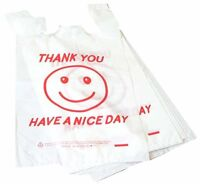 T Shirt Plastic Grocery / Shopping Bags Large White Smile Red 1/6 Plastic Bag