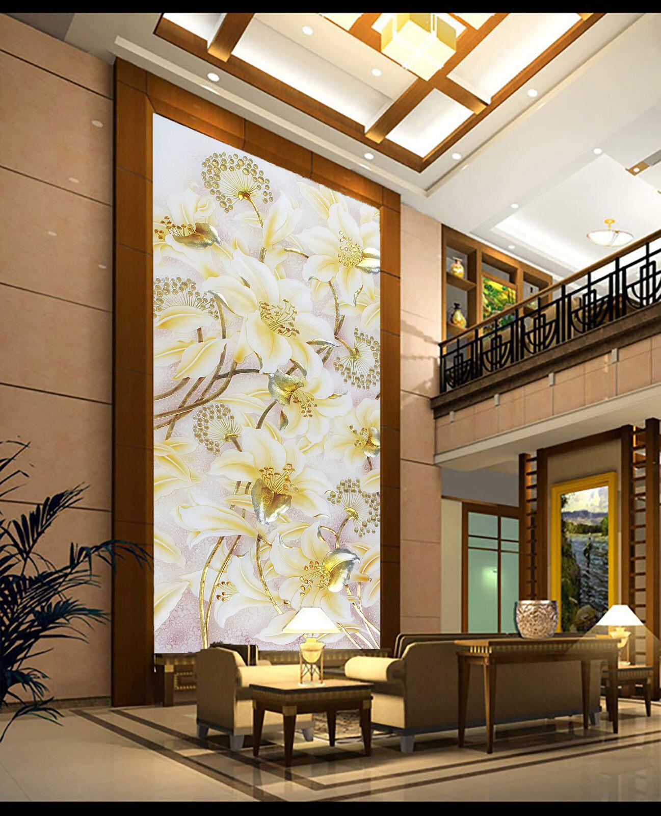 3D Luxury Gold Flower 7 Wall Paper Murals Wall Print Wall Wallpaper Mural AU Kya
