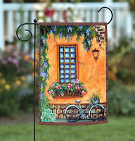 Toland - Rustic Townhouse Window - Cute Brick Flower Bicycle Garden Flag