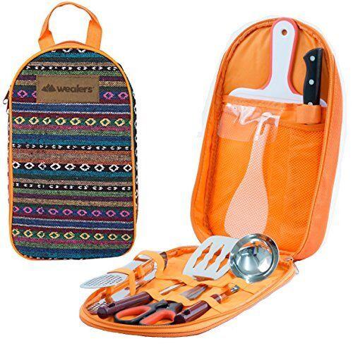 Camp Kitchen Utensil Organizer Travel  Set  Portable 8 Piece BBQ Cookware  zero profit
