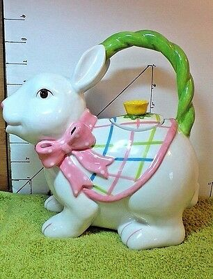 Easter, Bunny Teapot,  NEW DEB co., White,Pink,Yellow, Green Cape, Green Handle